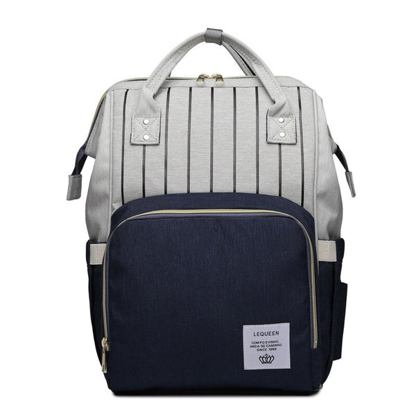LeQueen Striped Backpack Nappy Bag Blue