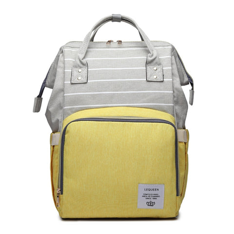 LeQueen Striped Backpack Nappy Bag Yellow