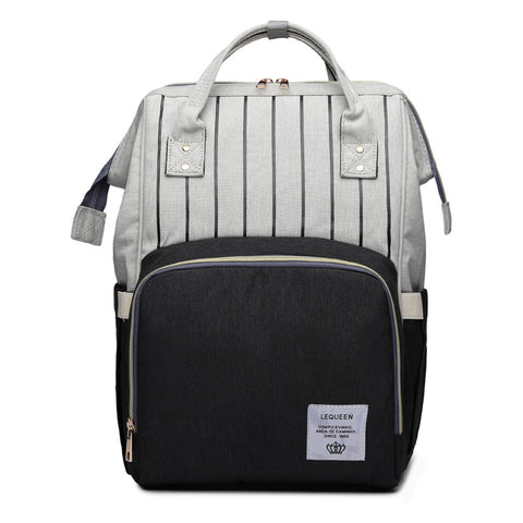 LeQueen Striped Backpack Nappy Bag Black