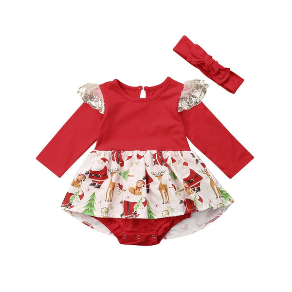 Santa Christmas Romper & Headband Set
