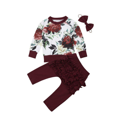 Floral Ruffle Set with Headband 3 Piece