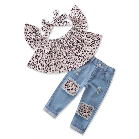 Leopard Ripped Jean Set with Headband 3 Piece