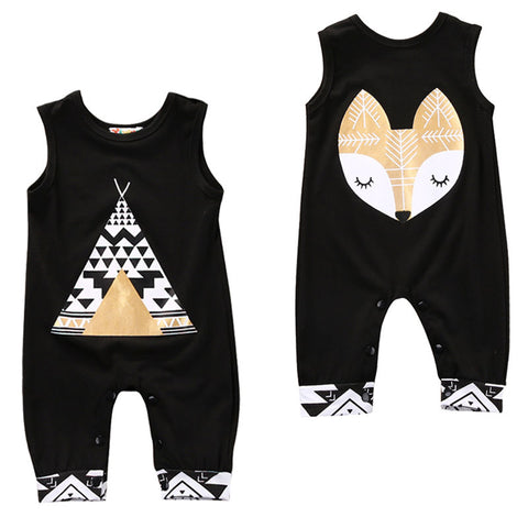 Sleeveless fox/teepee Romper 1 Piece