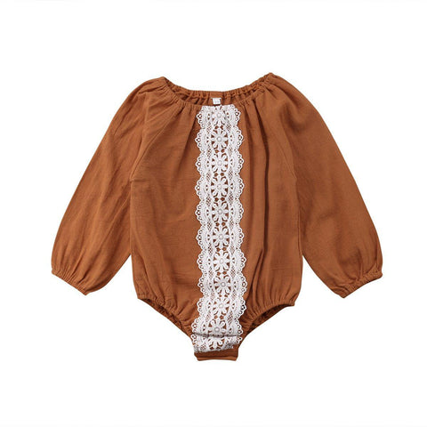 Long Sleeve Lace Strip Long sleeve Romper
