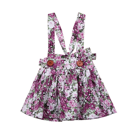Floral Print Strap Skirt Purple