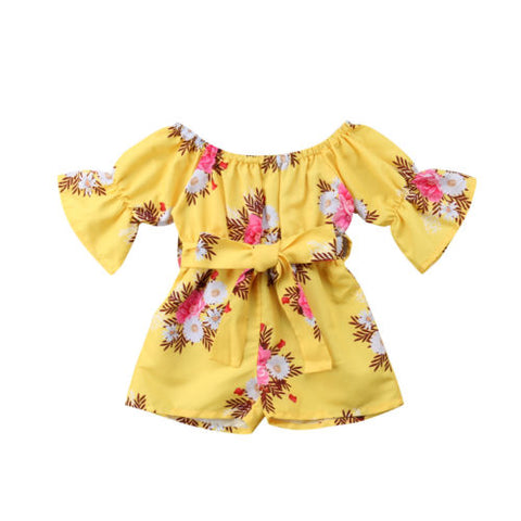 Floral Bowknot Romper Yellow