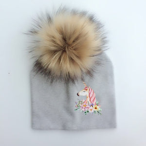 Unicorn Pom Pom Beanie Grey & Brown