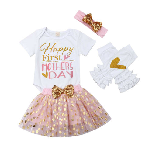 Happy First Mothers Day Skirt Set with Headband & Legwarmers 3 piece