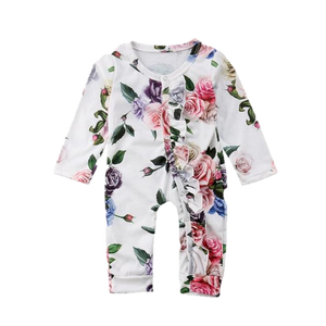 White Floral Button Up Romper