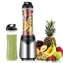 Smoothies Blender 300 Watt with 2 Pieces 18 oz BPA Free Portable Travel Sports Bottles (Silver 2 Cups)