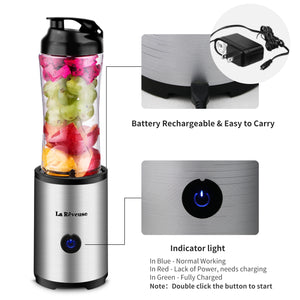 La Reveuse Portable Blender for Smoothie and Shakes,Battery Rechargeable,Cordless,Single Button Operation with 10 oz BPA Free Travel Bottle Single Serve (Silver)