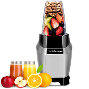La Reveuse Personal Blender 600W Powerful Motor Ice Crusher With Travel Lid BPA Free - 20oz Portable Sports Bottle Silver Stainless Steel Blade - Silver LARB1803S