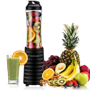 La Reveuse Smoothies Blender 300 Watt with 18 oz BPA Free Portable Travel Sports Bottle - Black 1801B