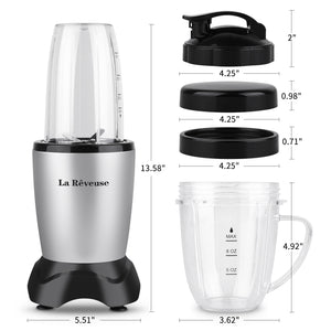 La Reveuse Smoothie Blender 600 Watts Power for Shakes Smoothies Seasonings Sauces with 11 oz Mug,18.6 oz Bottle