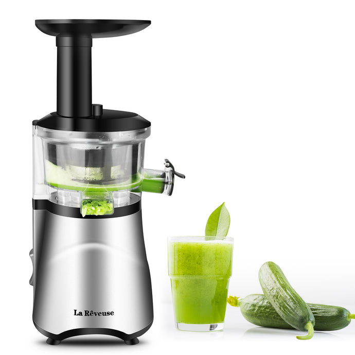 La Reveuse Slow Masticating Juicer Extractor with Quiet DC motor, 65RPM Speed,BPA-Free,Compact Design, Easy to Operate & Clean (Silver)