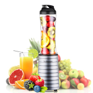 La Reveuse Smoothies Blender 300 Watt with 18 oz BPA Free Portable Travel Sports Bottle - Pink Stainless Steel Blade LARB1802P