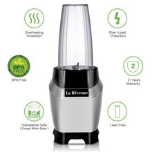 La Reveuse Personal Intellgent Blender 1000W Powerful Motor Ice Crusher With Travel Lid BPA Free - 24oz Portable Sports Bottle Golden Stainless Steel Blade - SILVER LARB1803G