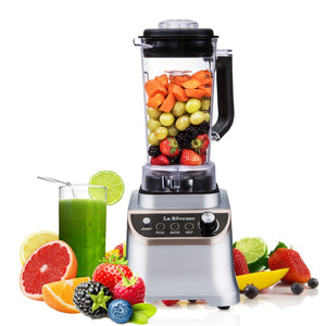 La Reveuse Food Processor Ice Crusher High speed 1200W Powerful Motor Blender - 51.25oz BPA Free Bottle Silver Stainless Steel Blade - Silver LARB1804