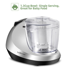 La Reveuse Electric Mini Food Chopper, Vegetable Fruit Cutter, Meat Grinder Mincer with 1.3-Cup Prep Bowl, Silver, LARB1809