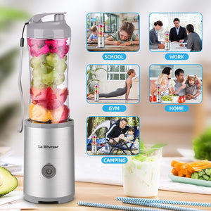 Portable Smoothies Shakes Blender Personal Size Cordless, Battery Rechargeable Juicer Cup,with 10 oz Travel Sports Bottles -BPA-Free (Silver&Grey)