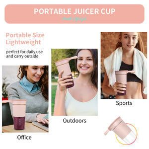 Personal Size Portable Blender For Juice,Shakes,Smoothies,Cordless Juice Mixer Cup,USB Rechargeable, For Office,Sports,Travel,Outdoors,11 oz BPA Free,50W,PINK