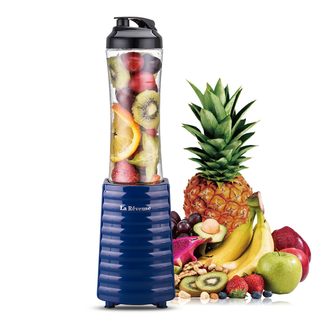 La Reveuse Smoothies Blender Personal Size 300 Watts with 18 oz BPA Free Portable Travel Sports Bottle (Navy)