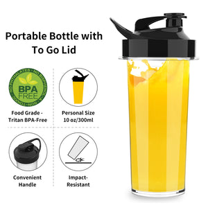 Personal Blender for Shakes Smoothies 200 Watt with Magnetic Drive Technology 10 oz BPA Free Portable Travel Bottle,White Black
