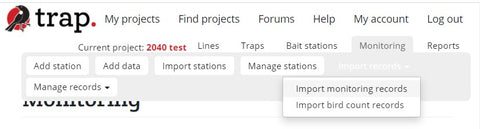Import monitoring records to TrapNZ