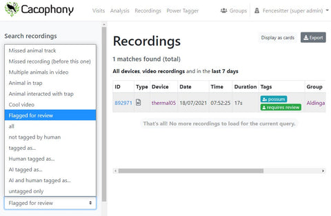 Searching for flagged for review label on the Cacophony Project Portal