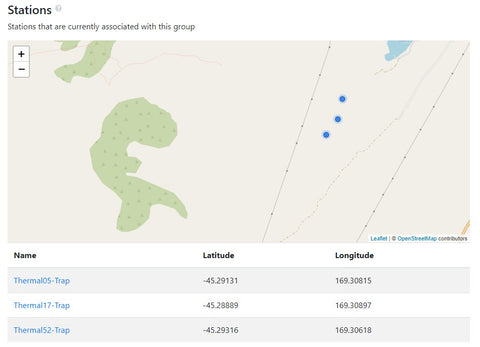 Location of Trap NZ stations in The Cacophony Project Portal
