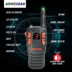 ArmoGear Voice Changing Walkie Talkies for Kids (Set of 2) 2-Mile, 8 Channel Long Range Outdoor Two-Way Radios