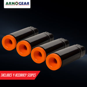 Indoor Accuracy Scope Set of 4 - Laser Tag Accessory - Improves Indoor Use