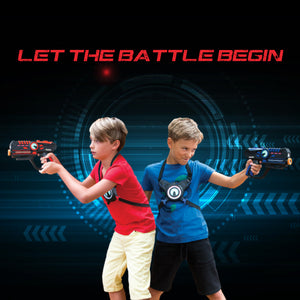 Two boys standing back to back, each wearing a laser vest and holding a laser gun from ArmoGear. The words Let the Battle Begin are at the top of the image.