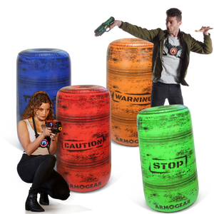 Inflatable Battle Zone Barrels - Pump Included