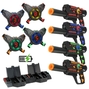 Rechargeable Laser Battle Guns & Vests - 4 Pack