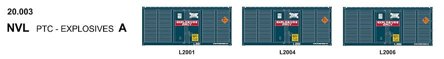 SDS Models: 20' Foot Containers: L / D / NGA / NGB / MSL / VSL: Triple Packs NVL 20.003