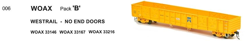 WGX WOAX 006 SDS Models : WAGR WOAX OPEN WAGON WESTRAIL - NO END DOORS pk B.