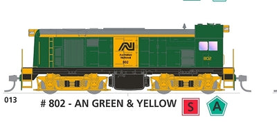 800 class with SOUND: #013 Loco No 802 in AN GREEN & YELLOW SOUTH AUSTRALIAN RAILWAYS: SDS Models NOW AVAILABLE