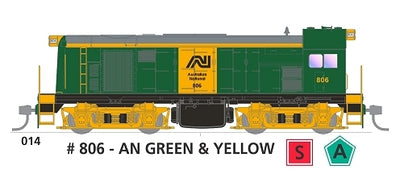 800 class with SOUND: #014 Loco No 806 in AN GREEN & YELLOW SOUTH AUSTRALIAN RAILWAYS: SDS Models NOW AVAILABLE