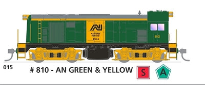 800 class with SOUND: #015 Loco No 810 in AN GREEN & YELLOW SOUTH AUSTRALIAN RAILWAYS: SDS Models NOW AVAILABLE