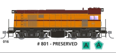 800 class with SOUND: #016 Loco No 801 PRESERVED in TRAFFIC YELLOW SOUTH AUSTRALIAN RAILWAYS: SDS Models NOW AVAILABLE