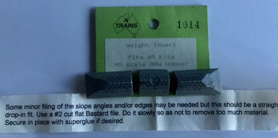 WEIGHT INSERT #1014 for BBW Wagon suits AR KITS WAGONS (1)  NSWGR