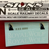 SK108 N Scale ROYAL WOLF 48ft container decal curtain sided TAUTLINER. decal N SCALE