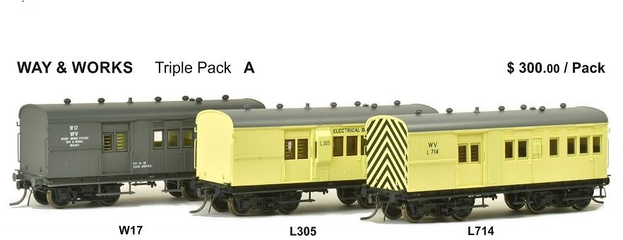 SHG SDS Models: 30' Goods Brake Van: Way & Works: Triple pack: W17 / L305/ L714
