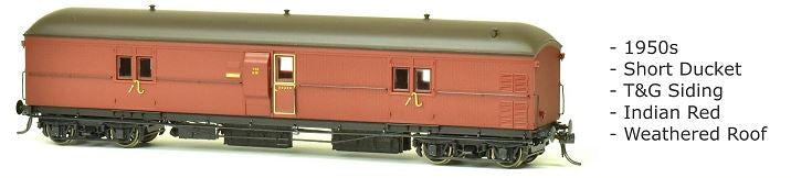 EHO SDS Models: EHO 630 Express Brake Van, 1950s, Indian Red, Weathered Roof *