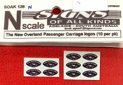 SK128 N SCALE- THE OVERLAND PASS, CARS LOGO'S 10 PER PK DECALS