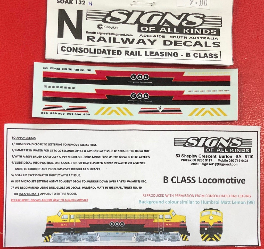 SK132 N SCALE CONSOLIDATED RAIL LEASING B Class LOCOMOTIVE decal sheet
