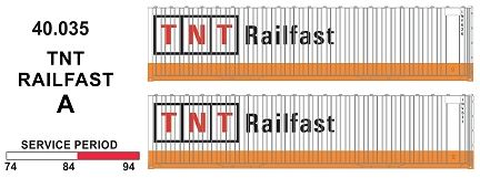 SDS Models: 40.035 A. 40' Jumbo Containers: Twin Packs: TNT Railfast PKA : 40.035
