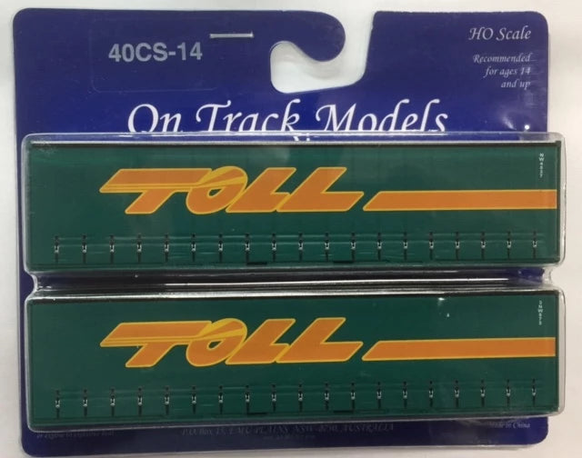 14. 40' Curtain Sided Containers #40CS-14 TOLL Green – NW4537 (V3) & 3NW873 (V3)On Track Models:  (2 PACK)