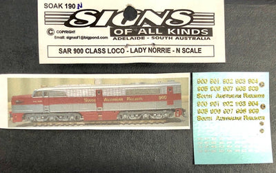 SK190 N Scale - SAR 900 CLASS LOCOMOTIVE - LADY NORRIE  - VALUE PK